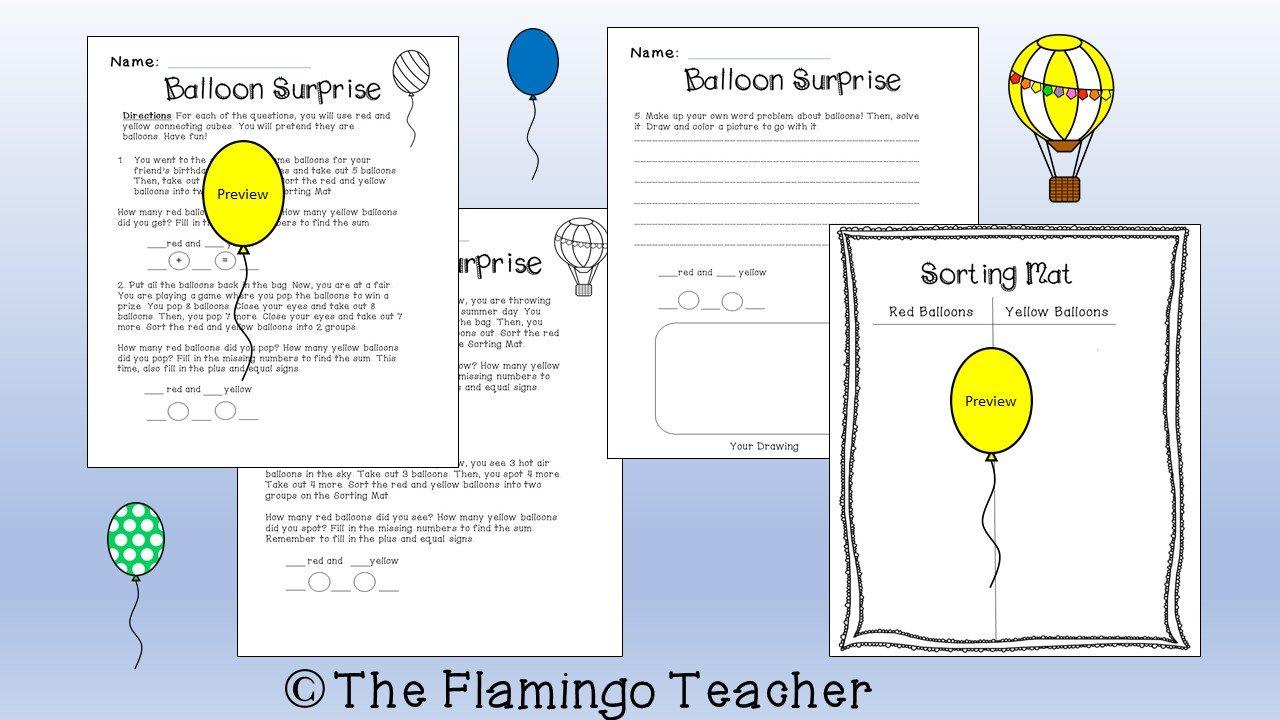 Balloon Surprise First Grade Math Activity